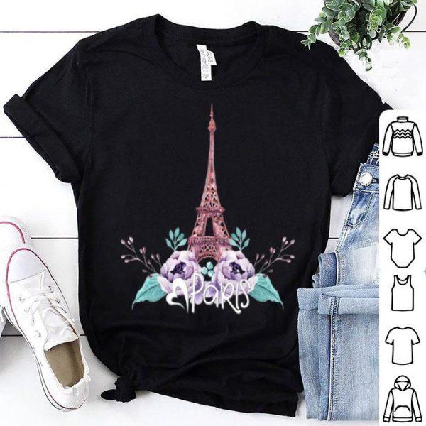 Eiffel Tower Love Paris Floral Tee Heart shirt