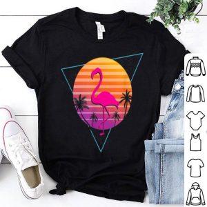 Flamingo Palm Sunset Outrun Synthwave Vaporwave 80's shirt