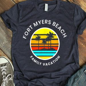 Fort Myers Beach Florida Family Vacation Sunset Palm Trees shirt