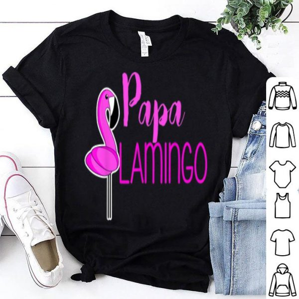 Mens Papa Flamingo Father's Day Family Couples shirt