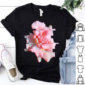Psychedelic Glitch Rose Flower Rave Trippy Hippie shirt