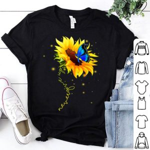 Sunflower Butterfly Never Give Up Down Syndrome shirt