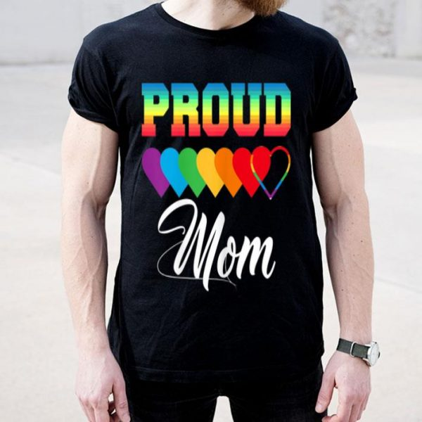 Womens Proud Mom LGBT Pride LGBT Mommy Cute Love shirt