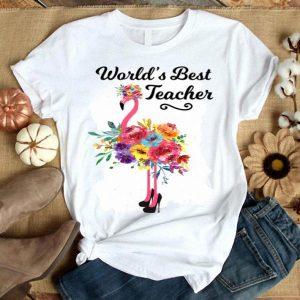 World's Best Teacher Pink Flamingo shirt