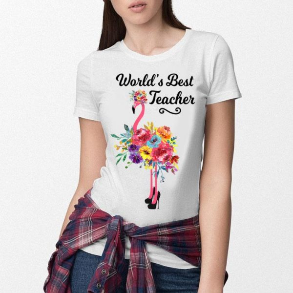 World's Best Teacher Pink Flamingo shirt