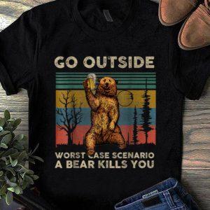 Awesome Vintage Go Outside Worst Case Scenario A Bear Kills You shirt
