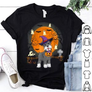 Beautiful Schnauzer Dog Witch Halloween Pumpkin Halloween Gifts shirt