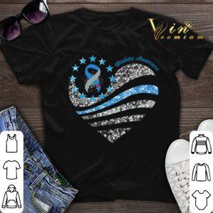 Glitter Diabetes Awareness Betsy Ross heart shirt sweater