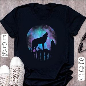 Hot Howling Wolf Galaxy Moon shirt
