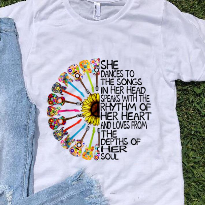 Hot She Dance To The Song In Her Head Speaks With The Rhythm Of Heart Heart Guitar Hippie Sunflower shirt 1 - Hot She Dance To The Song In Her Head Speaks With The Rhythm Of Heart Heart Guitar Hippie Sunflower shirt