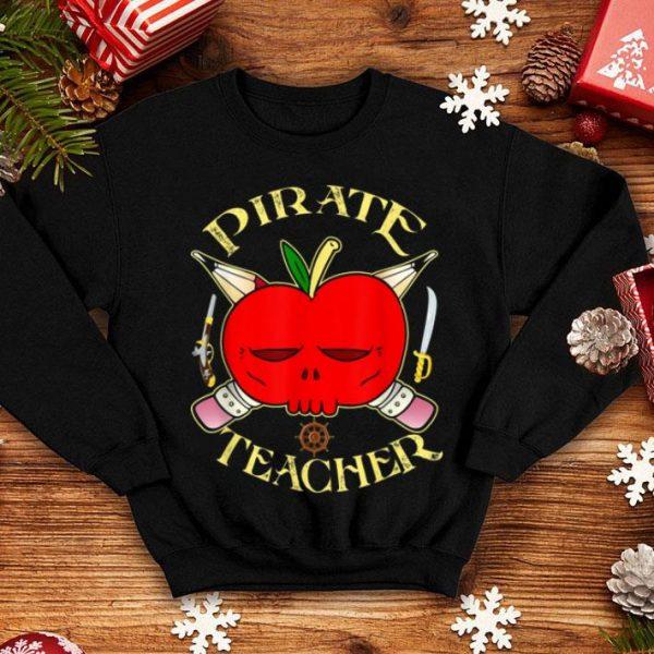 Nice Apple Skull Pirate Teacher Pencils Halloween Costume shirt
