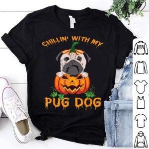 Official Chillin' With My Pug Dog Funny Dog Lovers Halloween Gift shirt