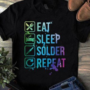 Official Eat Sleep Solder Repeat Retro shirt