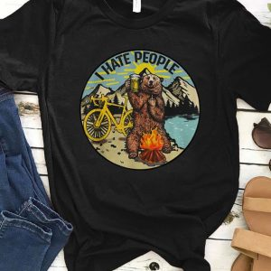 Official I Hate People Cyling Bear Drinking Beer Camping Fire shirt