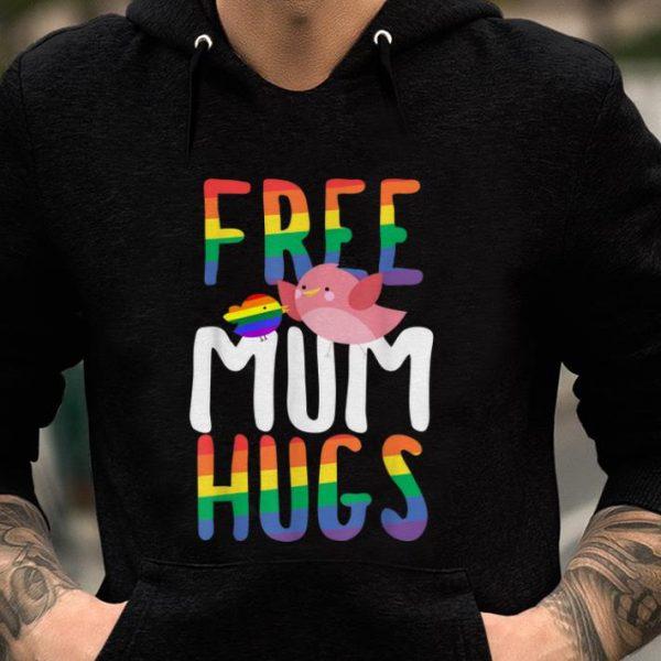 Premium Free Mum Hugs LGBT Gay Pride Rainbow Bird Flag shirt