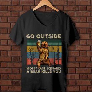 Premium Go Outside Worst Case Scenario A Bear Kills You Vintage Beer shirt