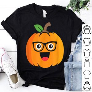 Premium Nerdy Pumpkin Face Emoticon Nerd Halloween Costume Gift shirt