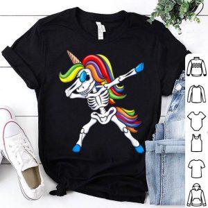 Awesome Dabbing Skeleton Unicorn Kids Girls Halloween Gift Dab shirt