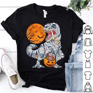 Funny Halloweens for Boys Kids Dinosaur T rex Mummy Pumpkin shirt