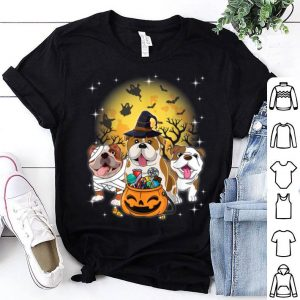 Hot English Bulldog Mummy Witch Dog Moon Ghosts Halloween shirt