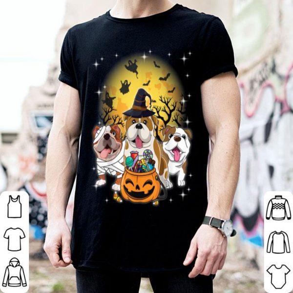 Hot English Bulldog Mummy Witch Dog Moon Ghosts Halloween shirt