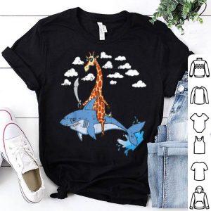 Hot Giraffe Pirate Riding Shark Sword Cute Animal Halloween Gift shirt