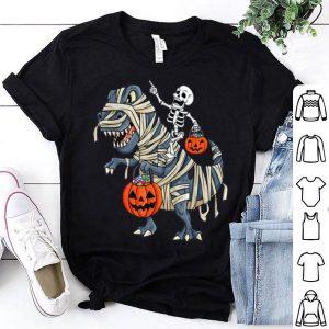 Nice Skeleton Riding T Rex Funny Halloween Boys Girls Kids shirt