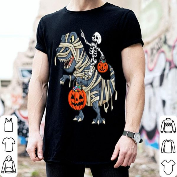 Nice Skeleton Riding T Rex Funny Halloween Boys Girls Kids shirt