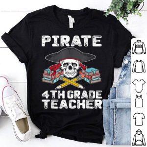 Pirate 4th Grade Teacher Funny Halloween Skull shirt