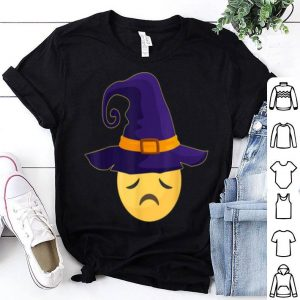 Premium Halloween Costume Emoji Emoticon Witch Hat Pensive Face shirt
