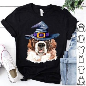 Top Saint Bernard Witch Hat Dog Lovers Halloween Gift shirt