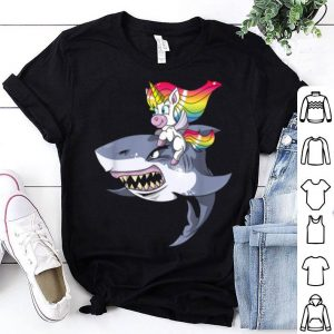 Unicorn Riding Shark Girls Women Funny Halloween shirt