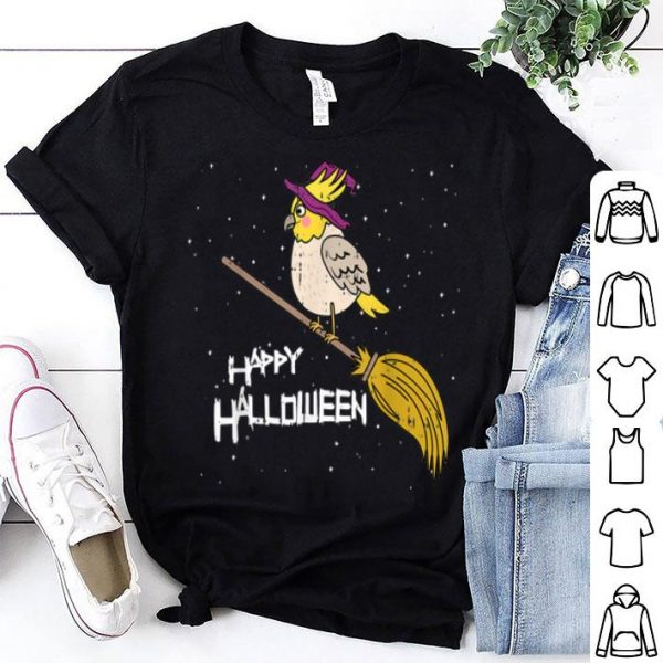 Awesome Cockatiel Witch Broomstick Night Cute Bird Halloween Gift shirt