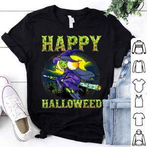 Awesome Halloween Happy Halloweed Witch Marijuana Weed 420 Women shirt