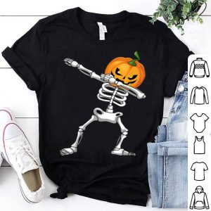 Awesome Halloween Kids Pumpkin Skeleton Dabbing Funny shirt
