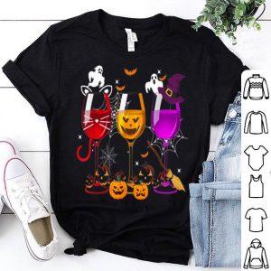 Hot Three Glasses Of Wine Halloween costume pumpkin shirt
