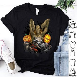 Original Marvel Groot and Rocket Racoon Jack-o'-Lantern Halloween shirt