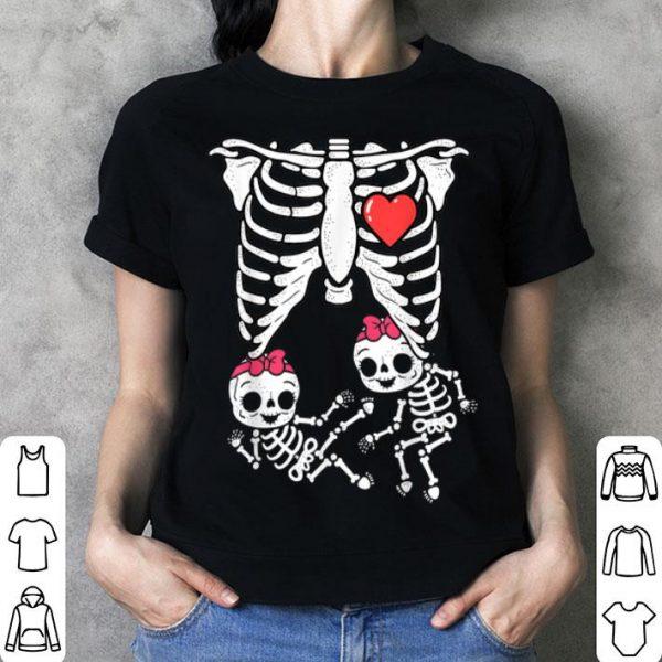 Original Skeleton Pregnancy Girl Twins X-Ray Pregnant Halloween shirt