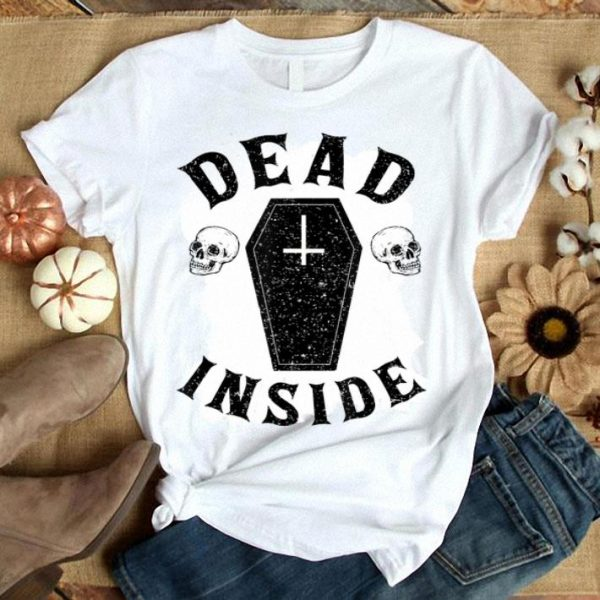 Premium Dead Inside Coffin Cross Skull Halloween Funny shirt