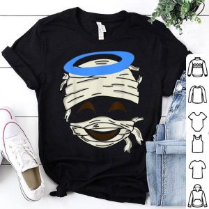 Top Mummy Smiling Face Halo Emoji Easy Smiley Halloween Gift shirt