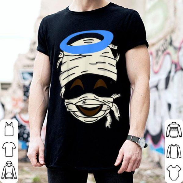 Top Mummy Smiling Face Halo Emoji Easy Smiley Halloween Gift shirt