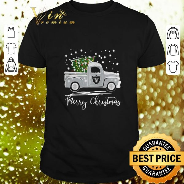 Awesome Oakland Raiders Truck Merry Christmas shirt