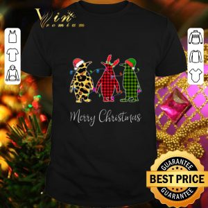 Awesome Penguin Merry Christmas leopard plaid shirt