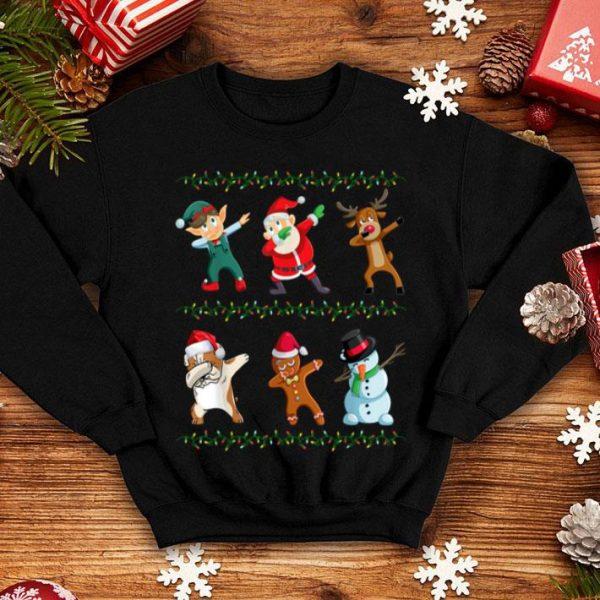 Beautiful Funny Dabbing Santa Bulldog And Friends Christmas shirt