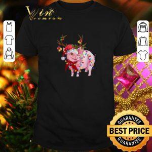 Best Pig Santa reindeer Christmas Lights shirt