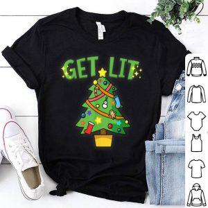 Hot Get Lit Christmas Tree - Xmas Humor Funny Tee shirt