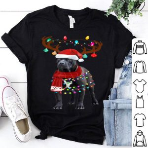 Nice Cute Pitbull Christmas Lights Reindeer Pajamas shirt