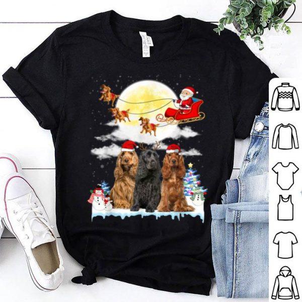 Premium Cocker Spaniel Dog Santa Sleigh Christmas Gift shirt
