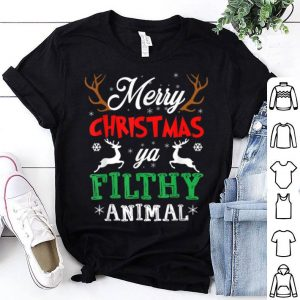 Premium Funny Alone At Home Movies Merry Christmas You Filty Animal shirt