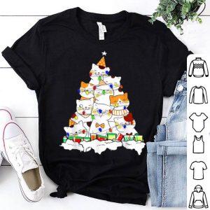 Pretty Cute Cat Christmas Light Meowy Christmas Kitten Xmas tree shirt